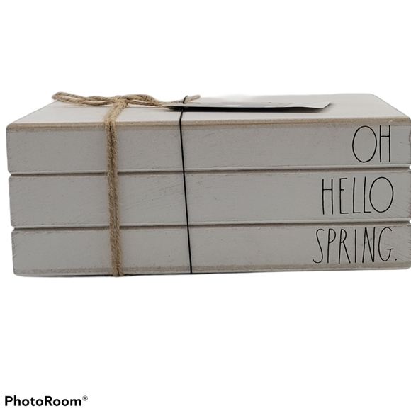 Rae Dunn OH HELLO SPRING Wooden Book Stack